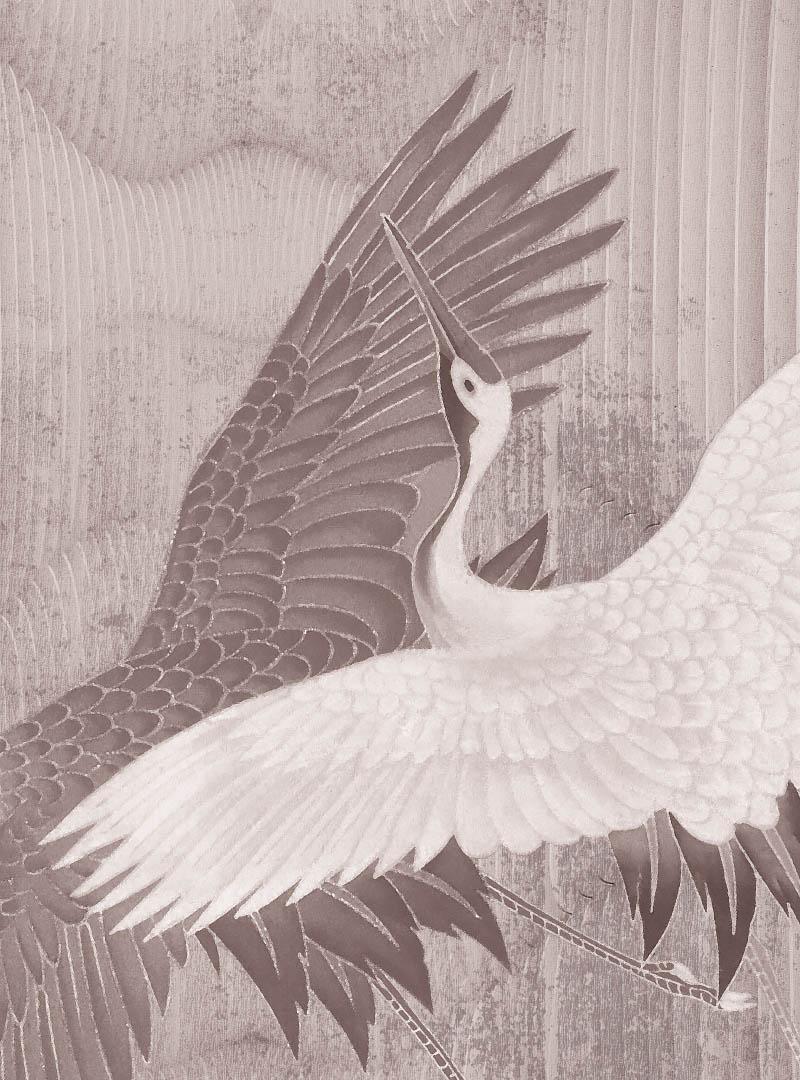 Joyful Cranes contemporary wallpaper
