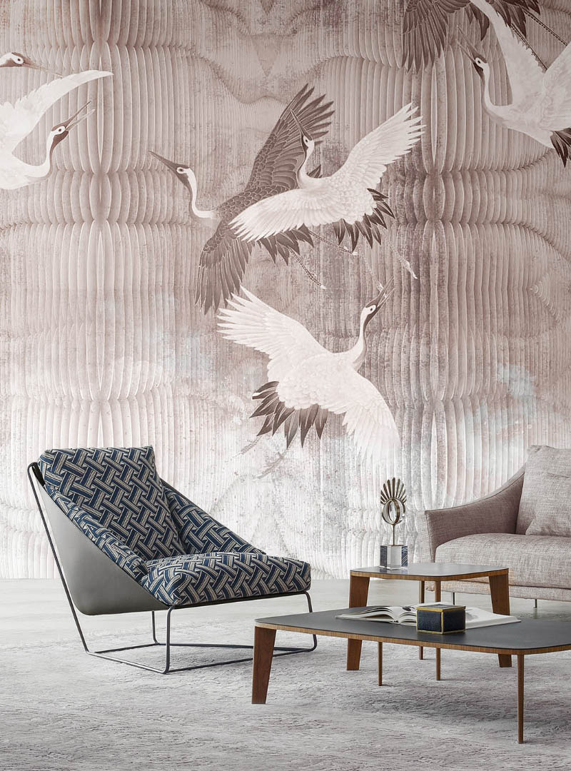 Joyful Cranes contemporary wallpaper