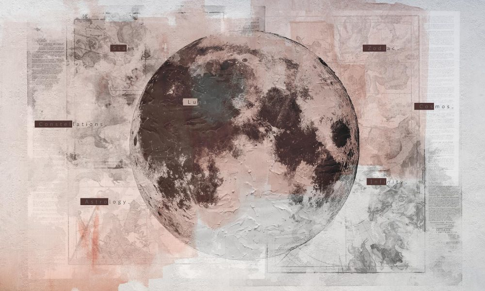 Lunar Phase modern wallpaper available in a custom size