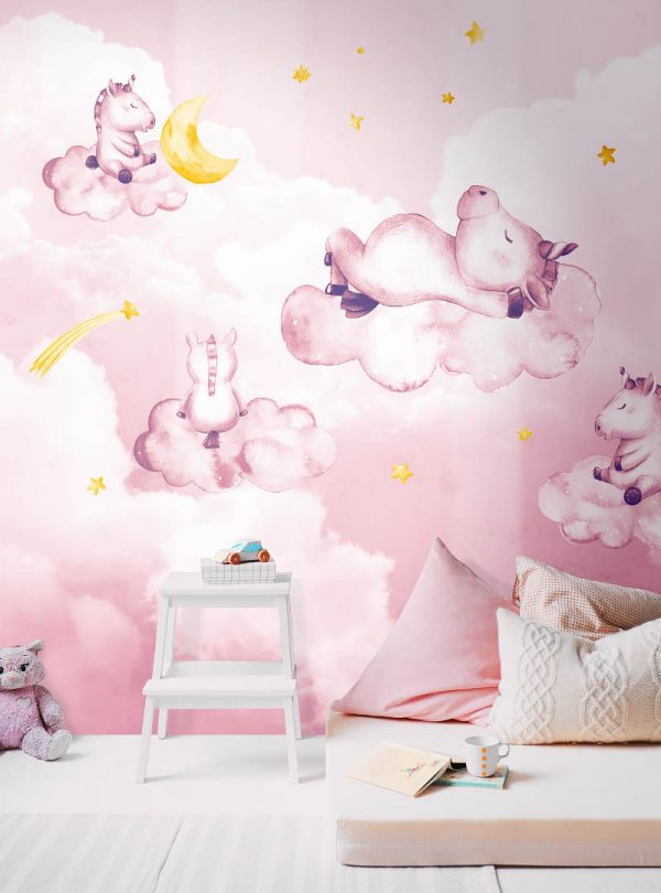 Dreaming Unicorns modern wallpaper by Idea Murale